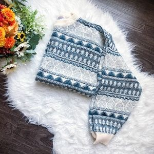 VINTAGE PATTERNED KNIT MOCK NECK SWEATER